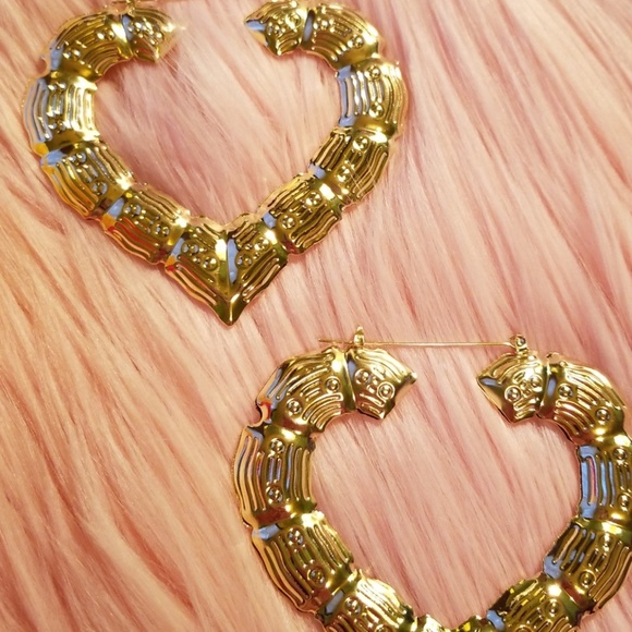 Jewelry | Gold Heart Shaped Bamboo Earrings | Poshmark